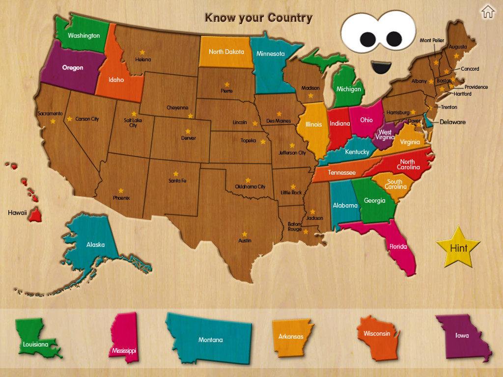 Wood Puzzle USA Map BestAppsForKidscom - Puzzle us map