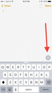 tap the plus symbol to start new note