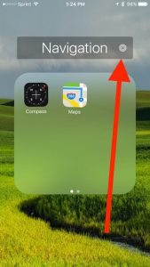 tap the X to rename a folder on iPhone