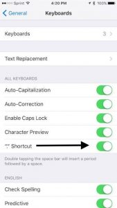 Shortcut settings