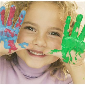 Little-girl-with-fingerpaint-on-hands