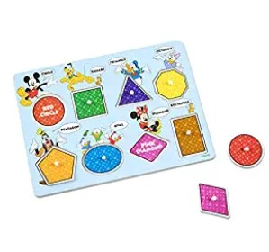 Melissa & Doug Disney Wooden Shapes & Colors Peg Puzzle