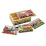 Melissa & Doug Wooden Vehicles Jigsaw Puzzles in a Box