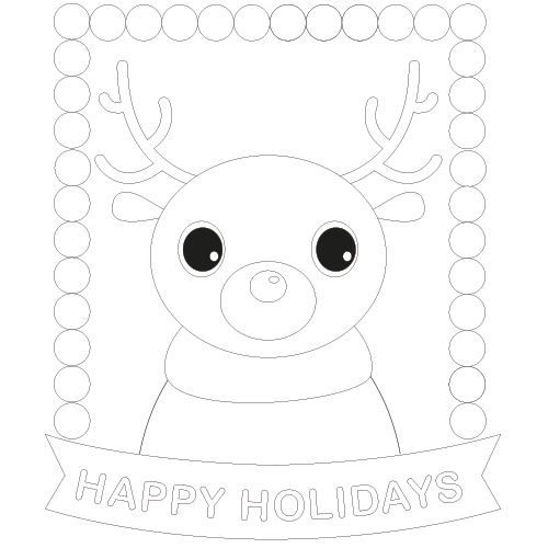 free christmas danny deer coloring page card