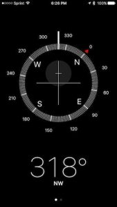 compass app in action on iPhone