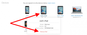 remove device from AppleID account