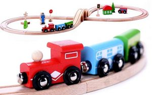 Classic Wooden Toy Train Starter Set