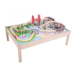 Bigjigs Rail Wooden City Train Set and Table