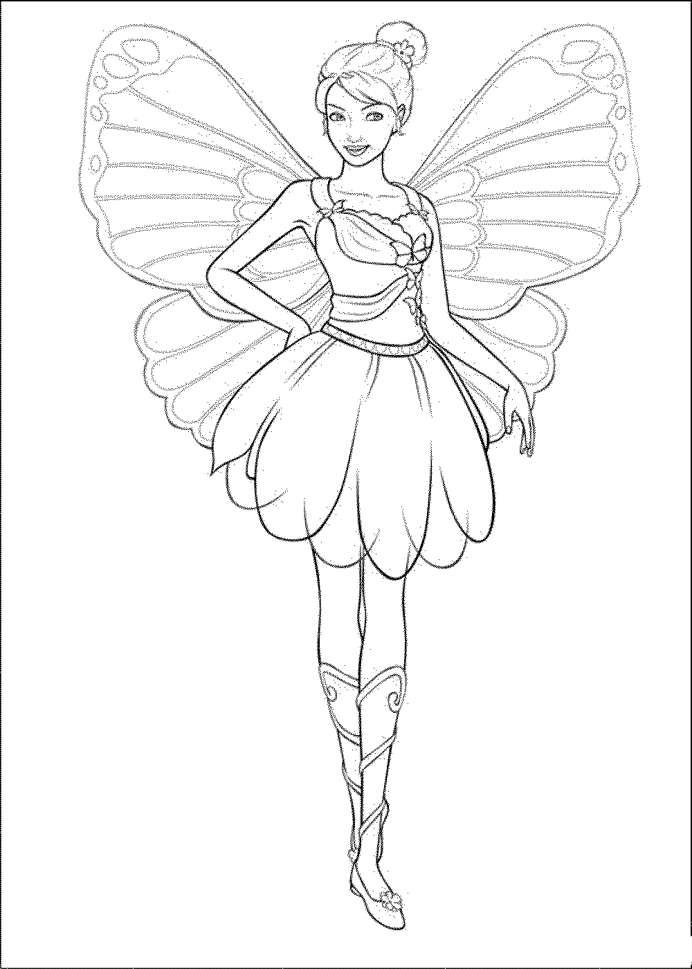 Big Fairy Princess Coloring Pages Printable Barbie Mariposa And The