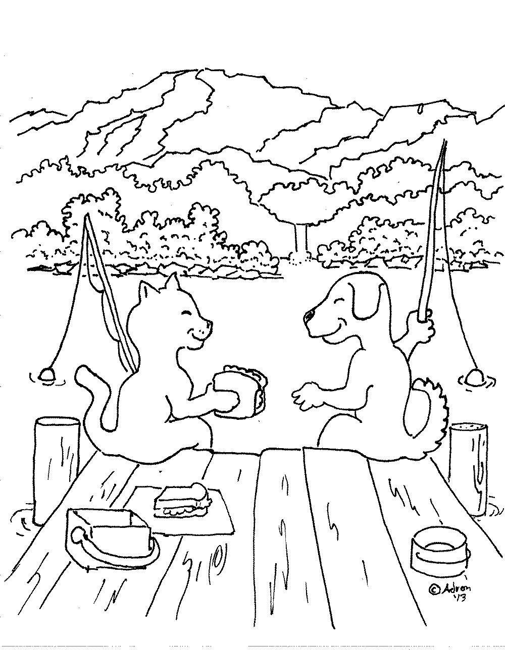 cat-dog-friendship-coloring-pages | | BestAppsForKids.com