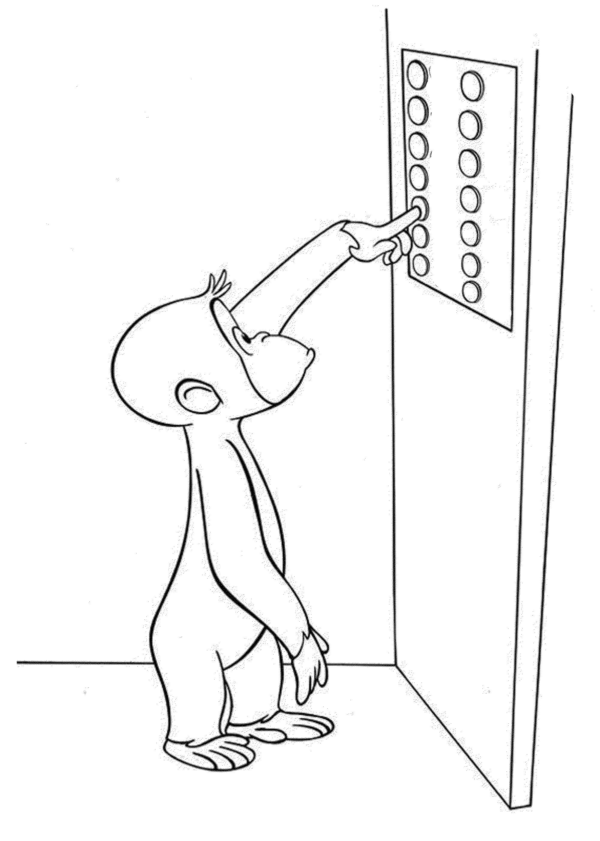 Curious George In The Lift Coloring Pages