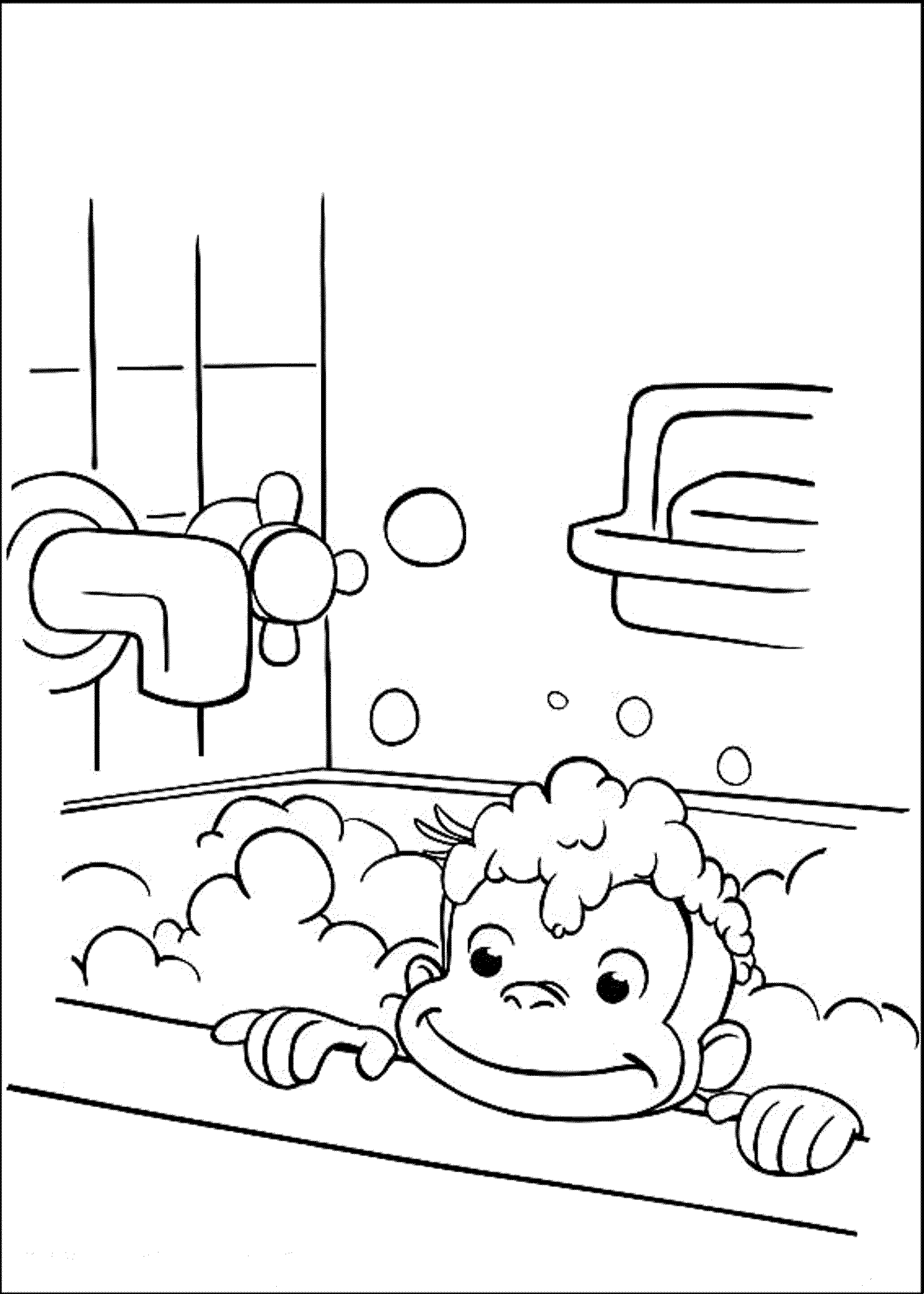 curious-george-take-a-bath-coloring-pages | | BestAppsForKids.com
