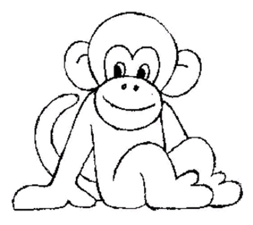 Print Download Coloring Monkey Head with Monkey Coloring Pages