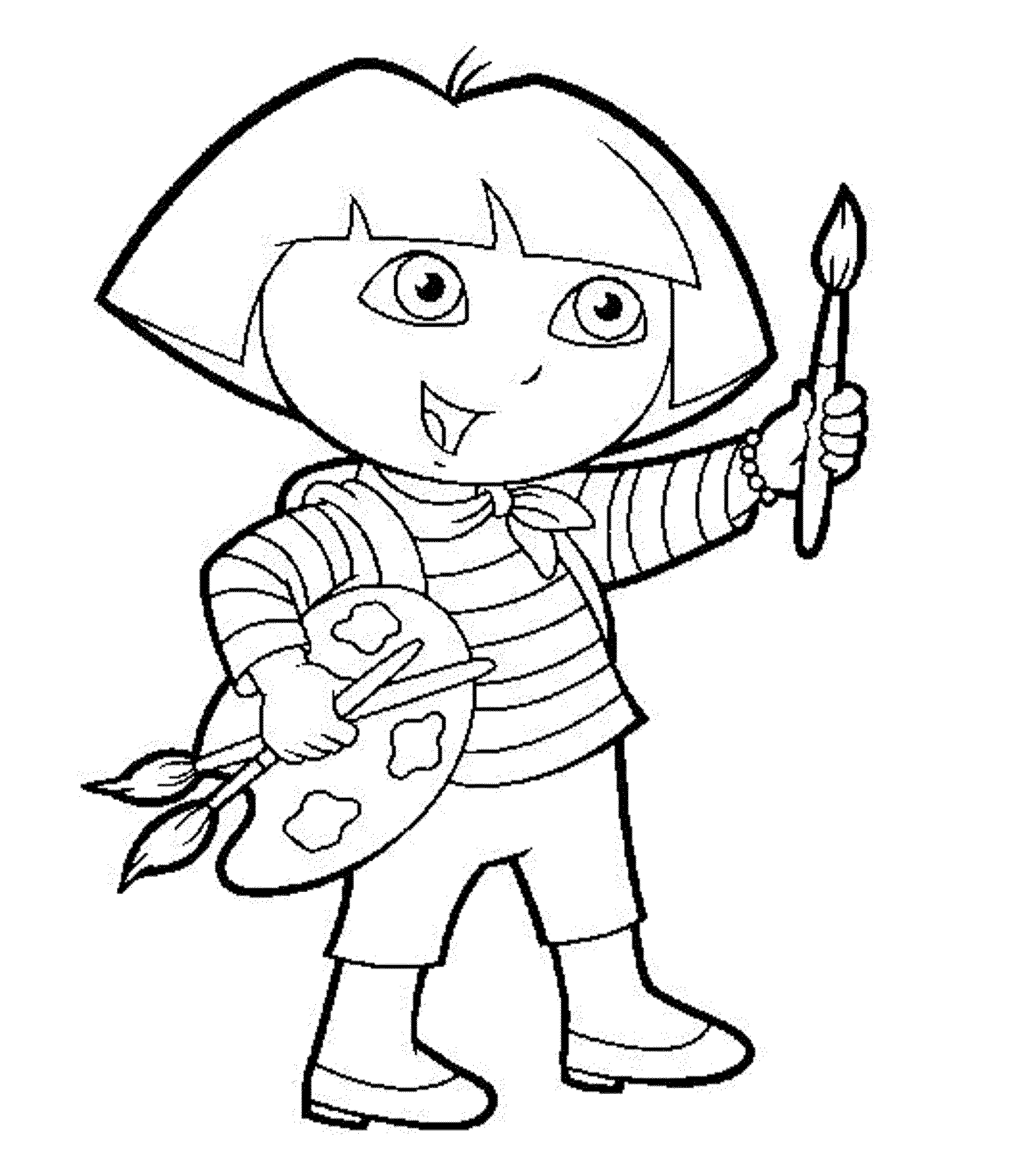 Print download dora coloring pages to learn new things for Dora black and white coloring pages