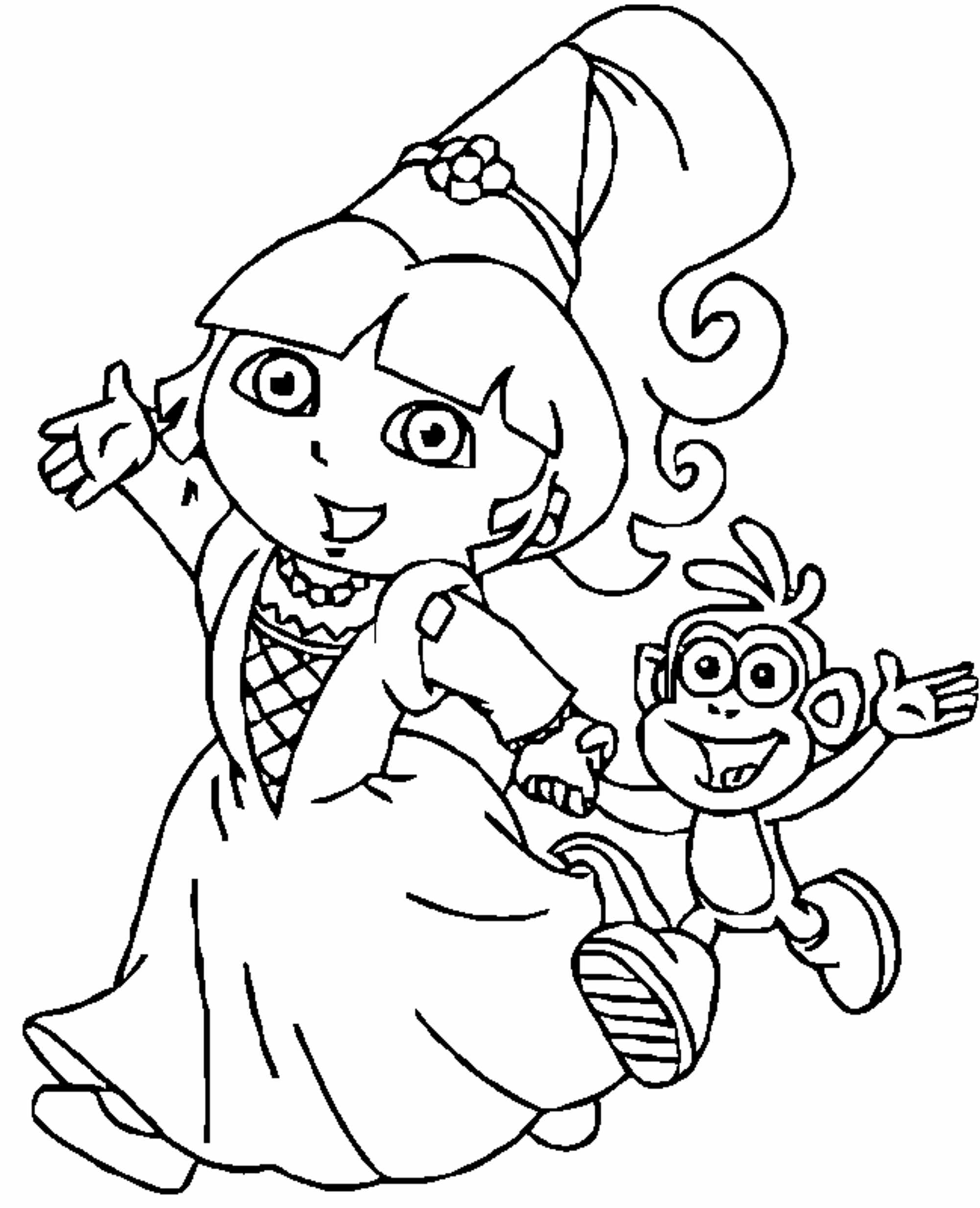 Print download dora coloring pages to learn new things for Dora the explorer coloring page