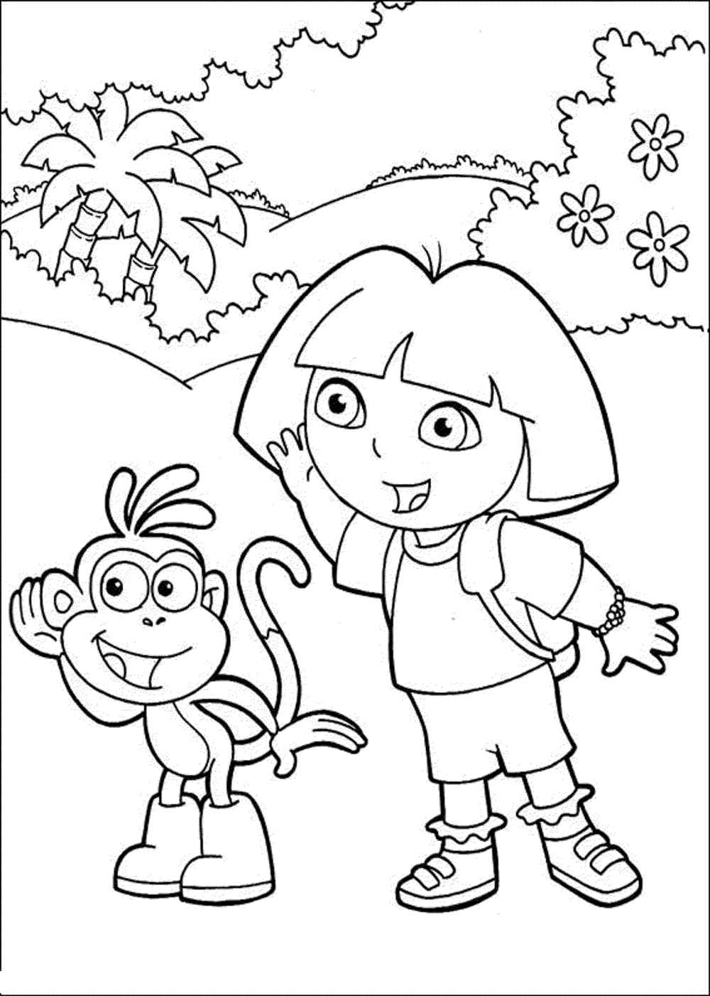 Dora the explorer coloring pages cartoon for Dora the explorer coloring page