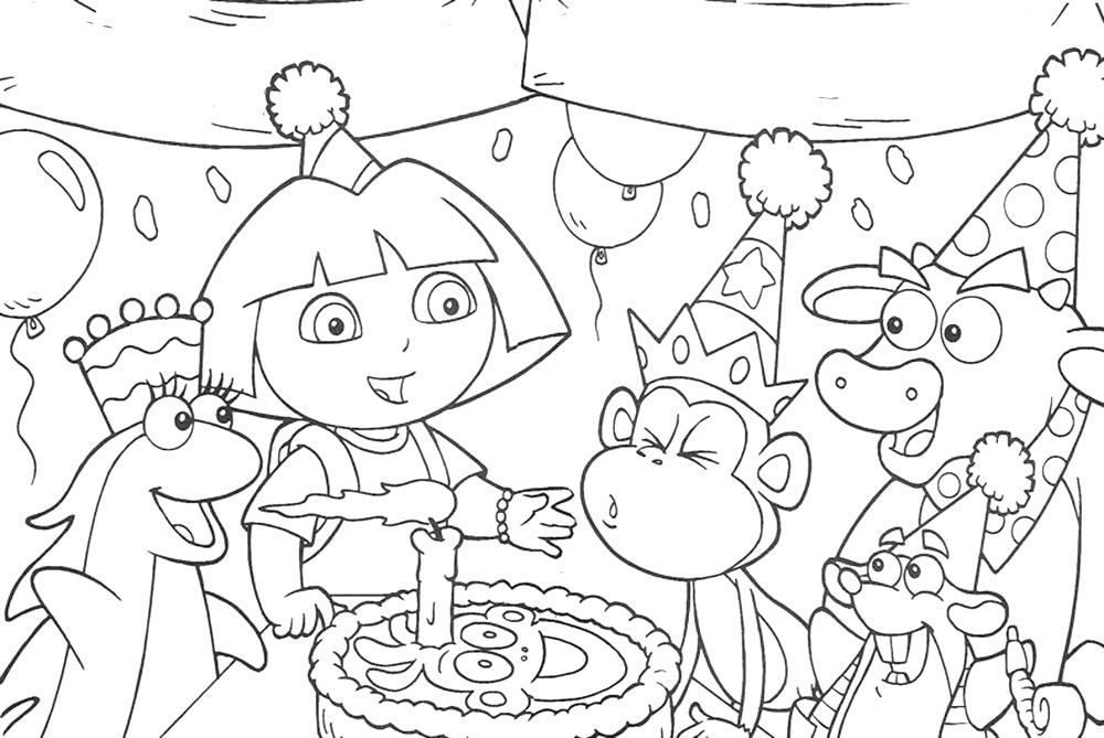 Dora The Explorer Happy Birthday Coloring Pages All Friends Bestappsforkids Com