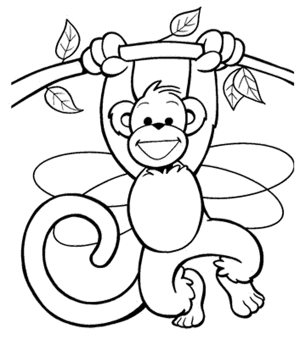Print & Download - Coloring Monkey Head with Monkey Coloring ...