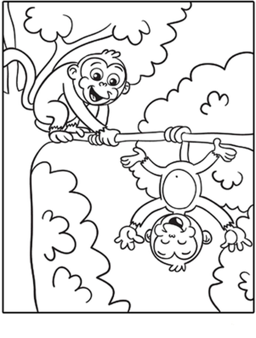 Vibrant image inside monkey coloring pages free printable