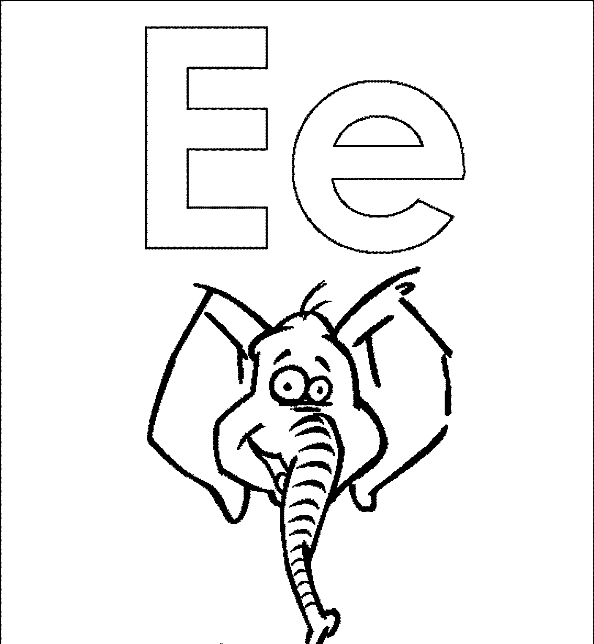 Letter E Elephant Coloring Pages Alphabet Bestappsforkids Com