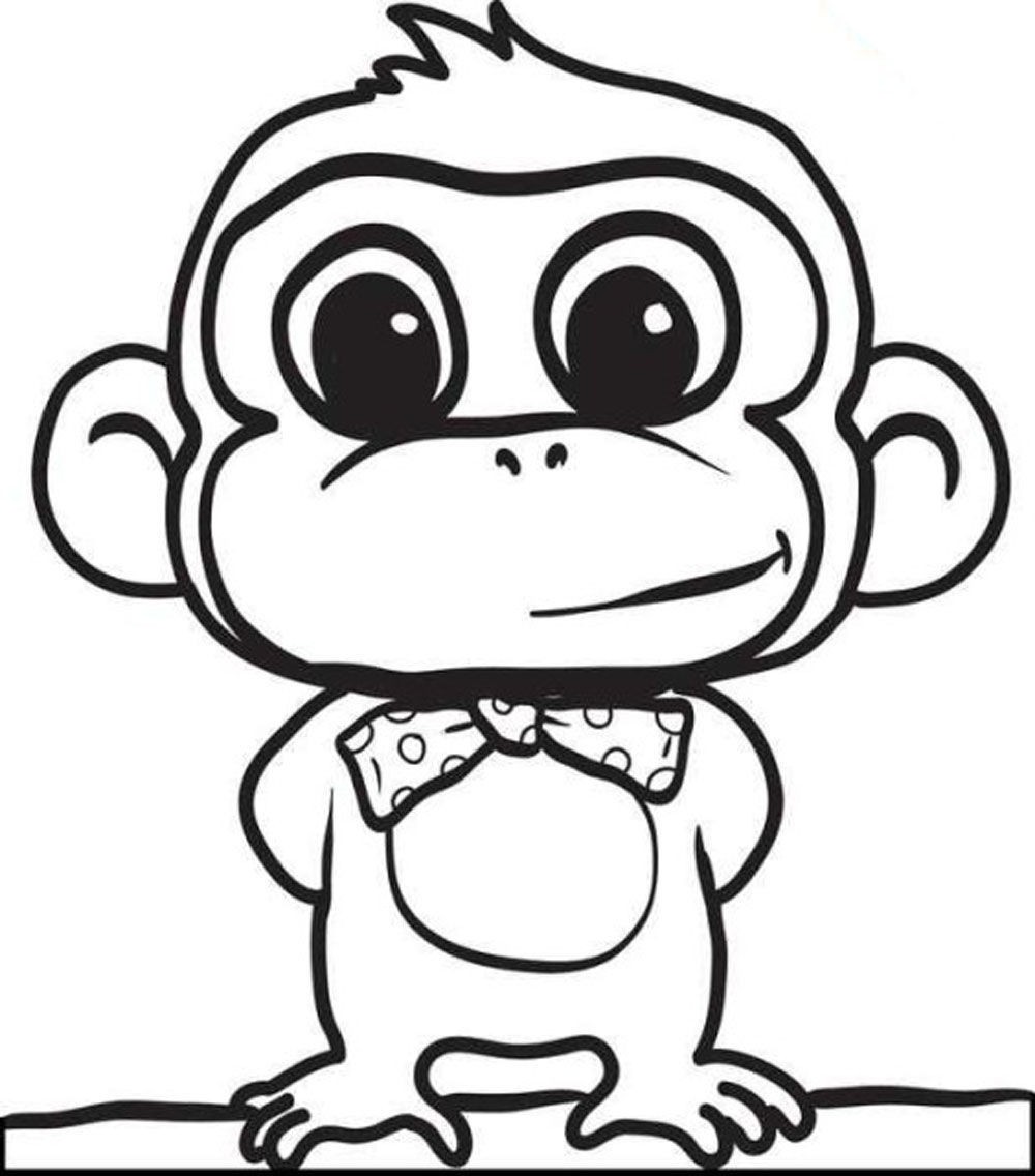 monkey coloring pages for kids 1