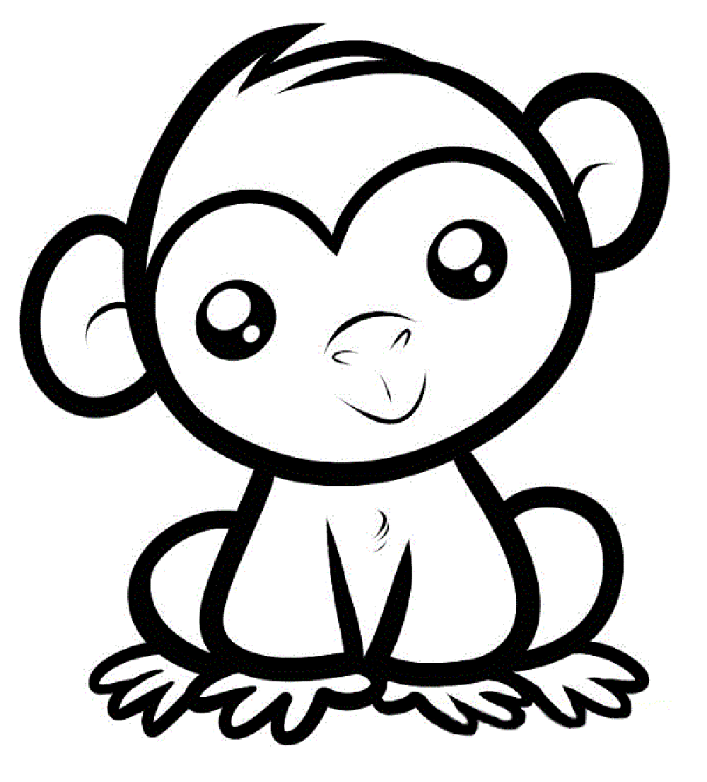 Print Download Coloring Monkey Head with Monkey