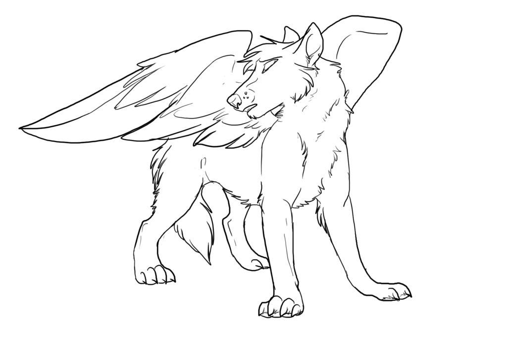 Winged Wolf Coloring Pages Bestappsforkids Com