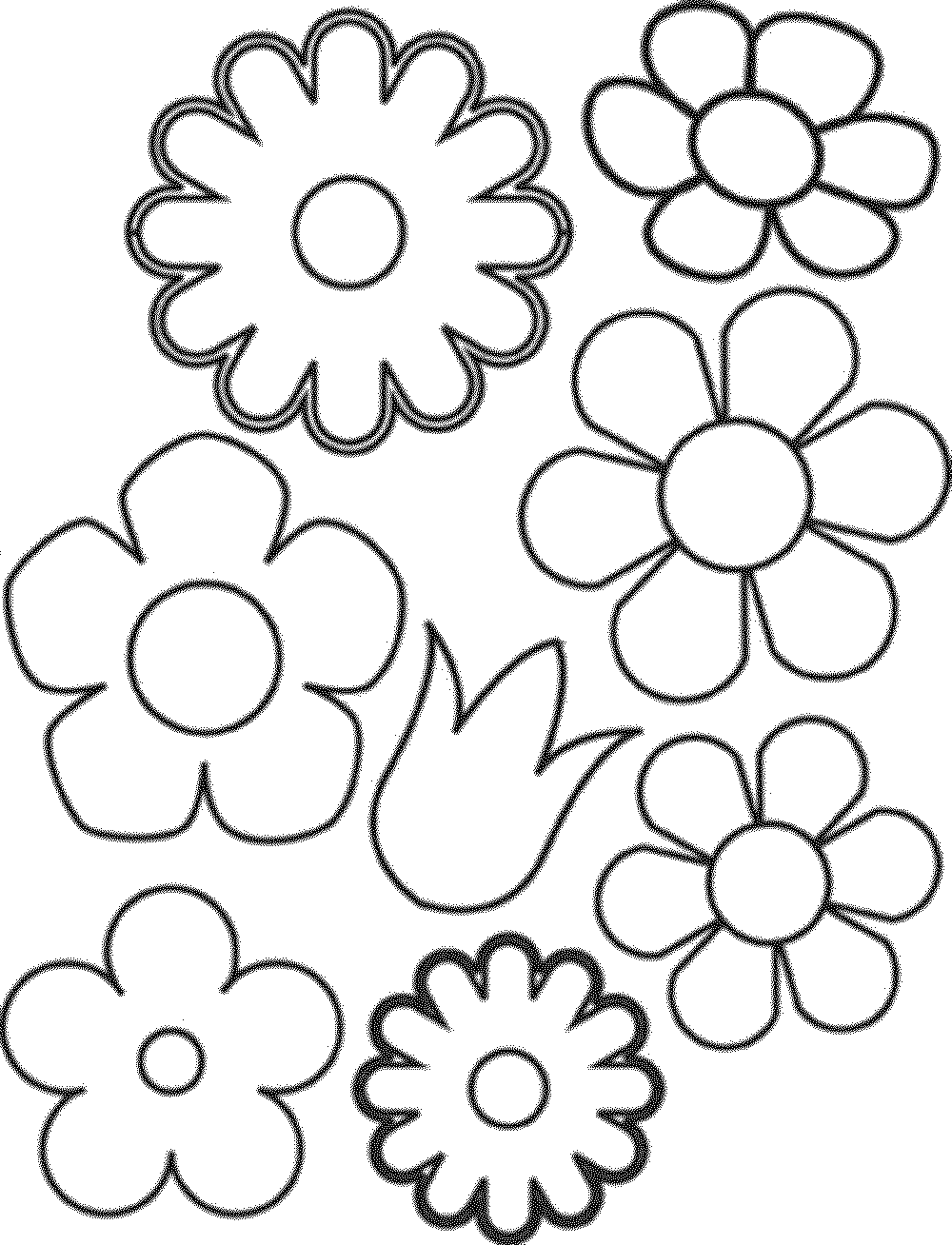 coloring pages for girls flowers easy - Simple Flower Coloring Pages