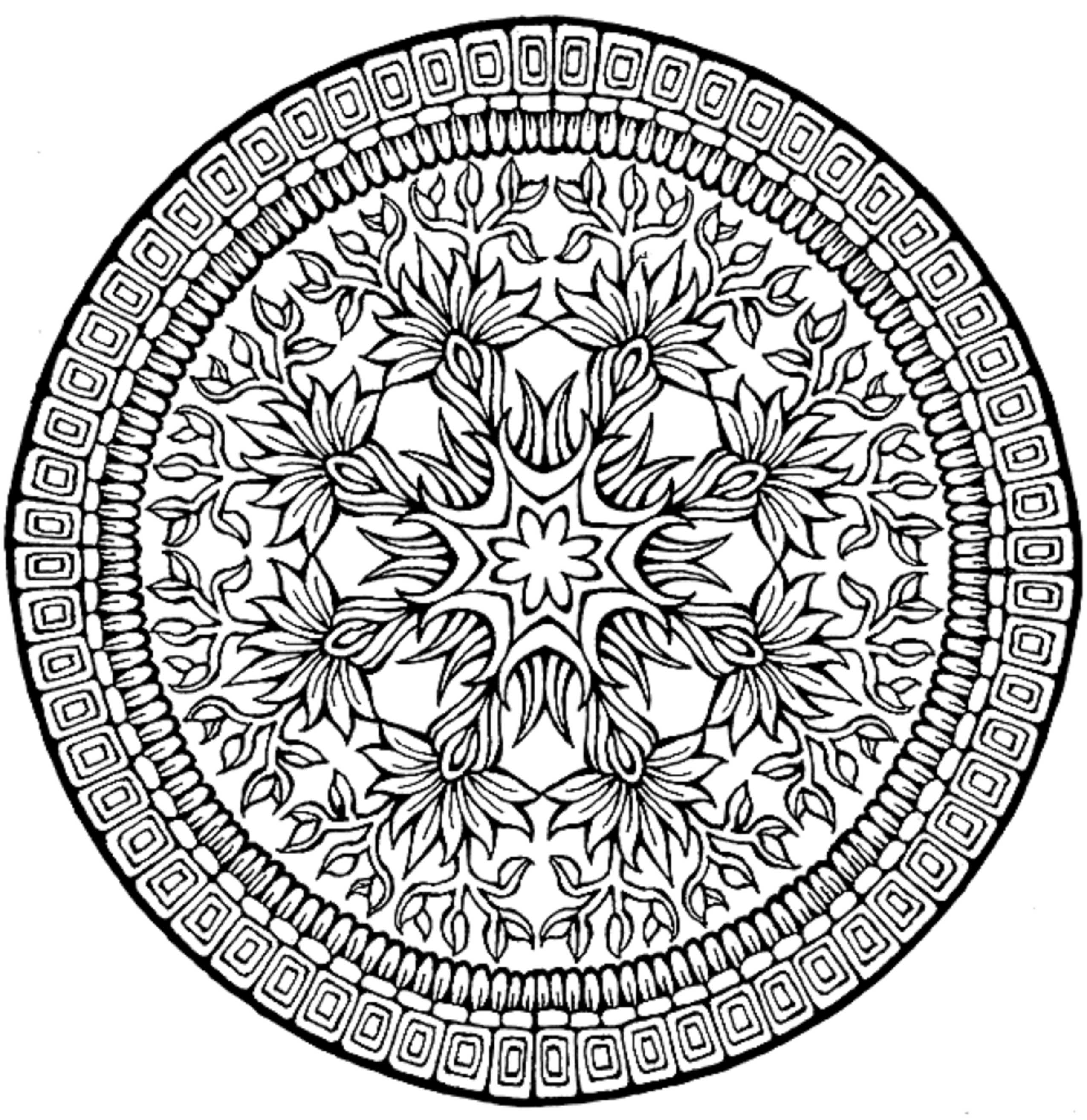 Flower coloring pages for adults - Complex Flower Coloring Pages For Adults