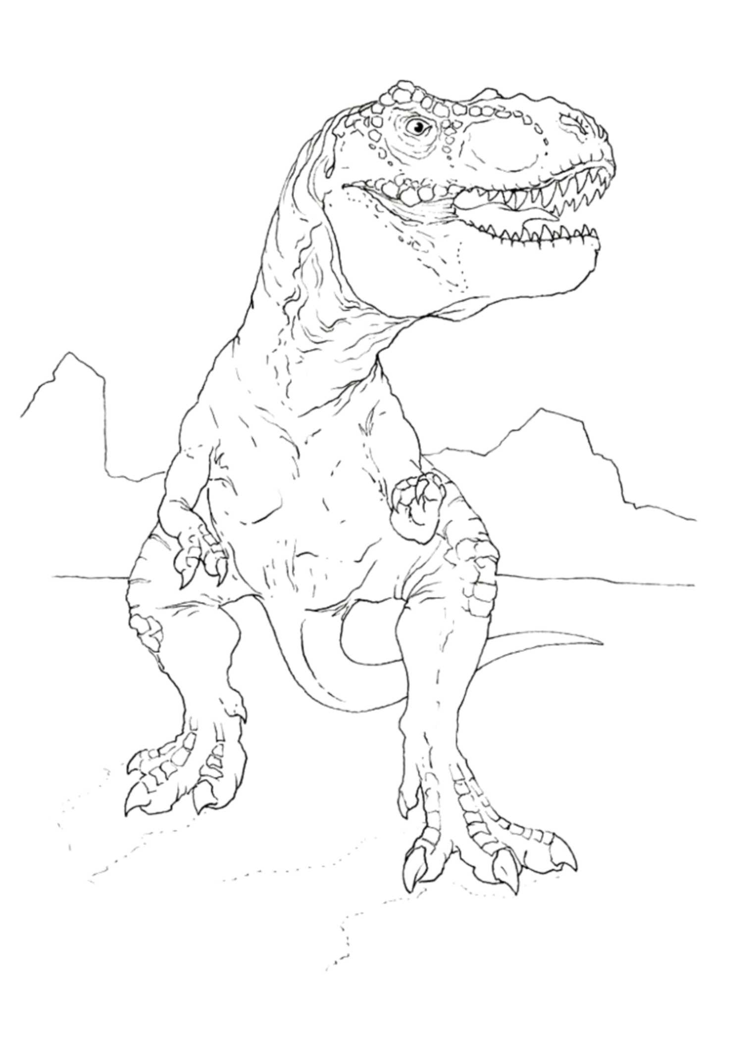 Print download dinosaur t rex coloring pages for kids for Free t rex dinosaur coloring pages