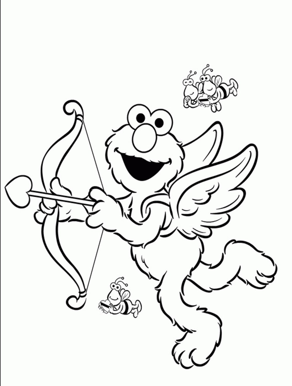 Print download elmo coloring pages for children s home for Valentines days coloring pages