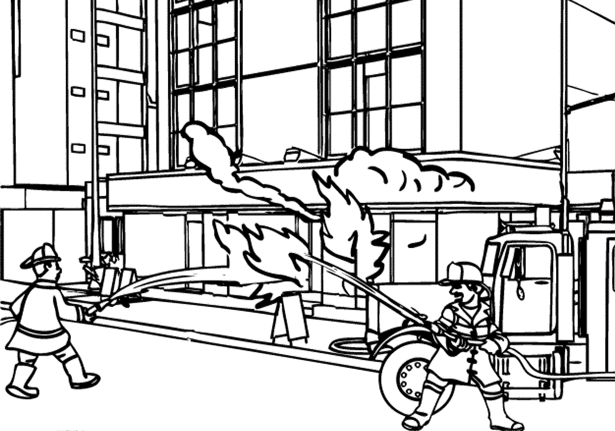 Fireman And Fire Truck Coloring Pages