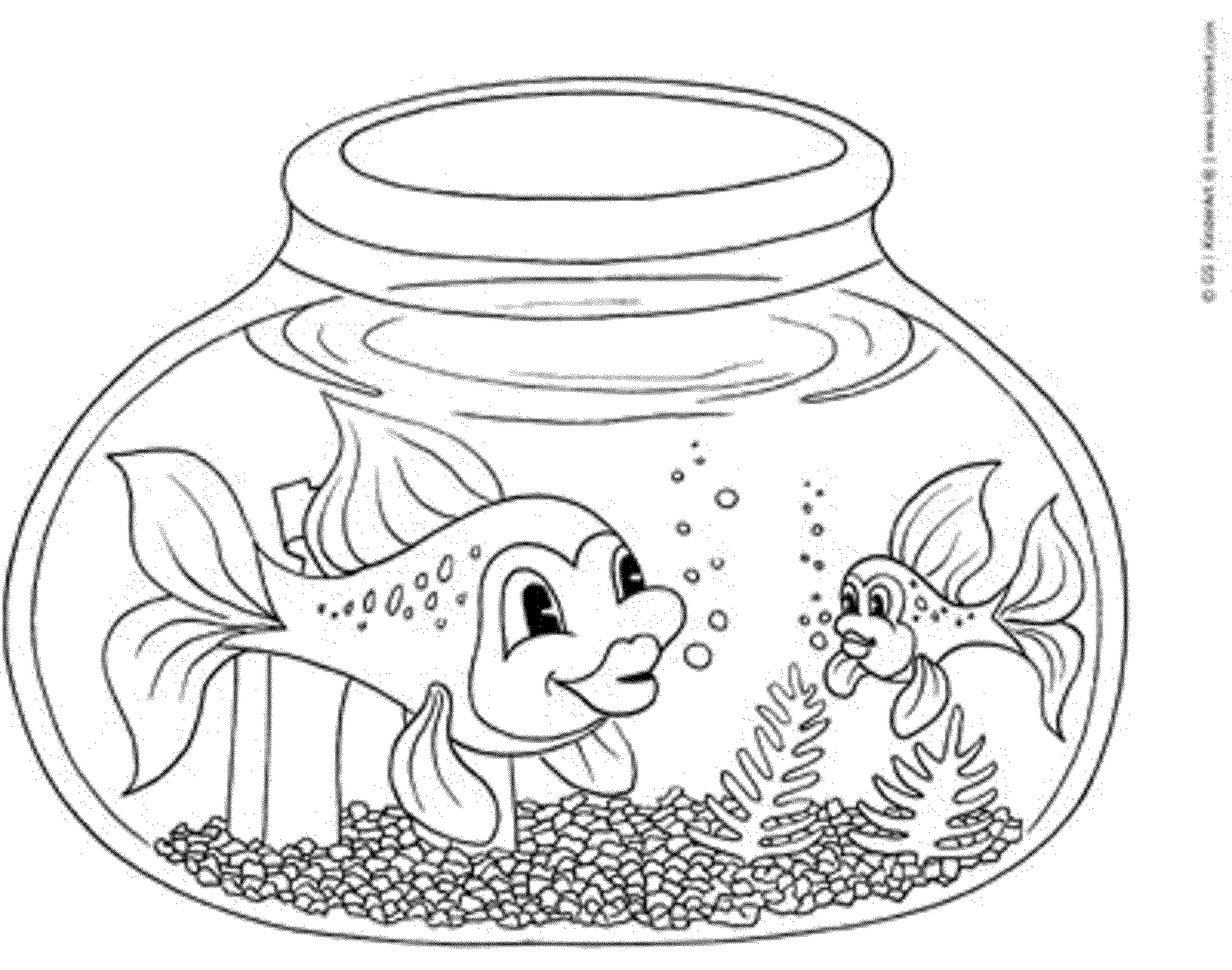 Fish bowl coloring page for Free coloring fish pages