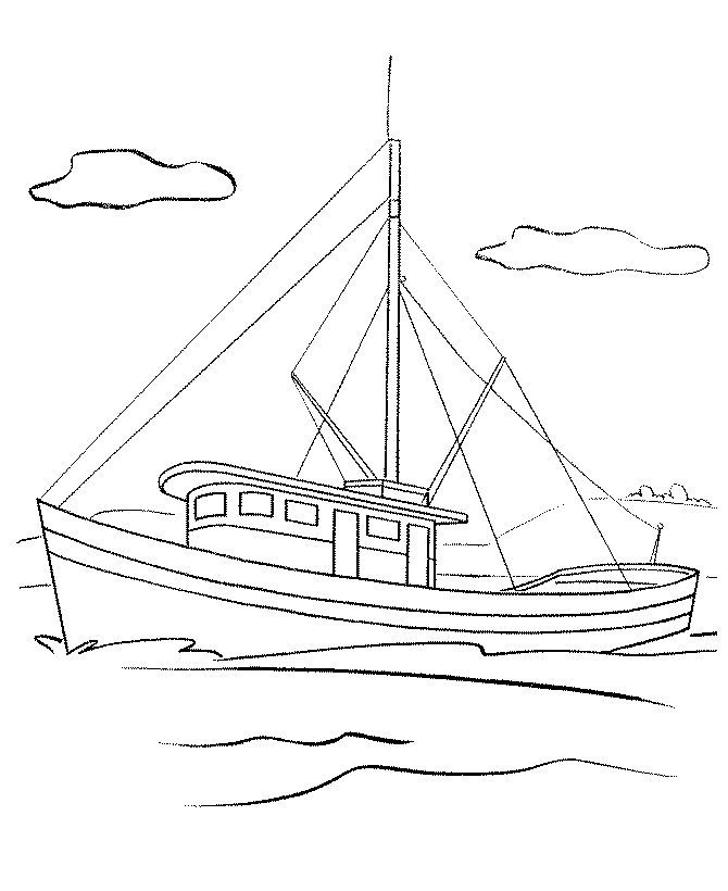 fishing boat coloring pages free