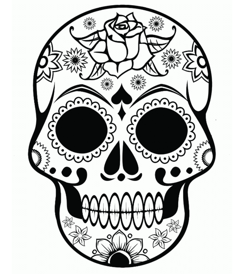 Free Sugar Skull Coloring Page: Printable Day of the Dead Coloring ... | 898x816