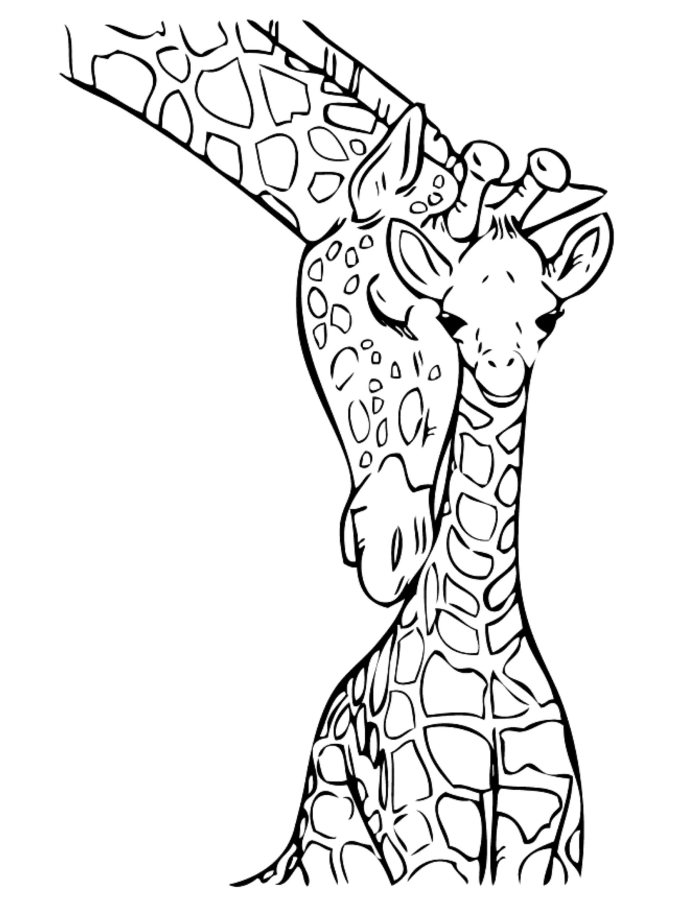 Print download giraffe coloring pages for kids to have fun for Giraffe coloring pages to print
