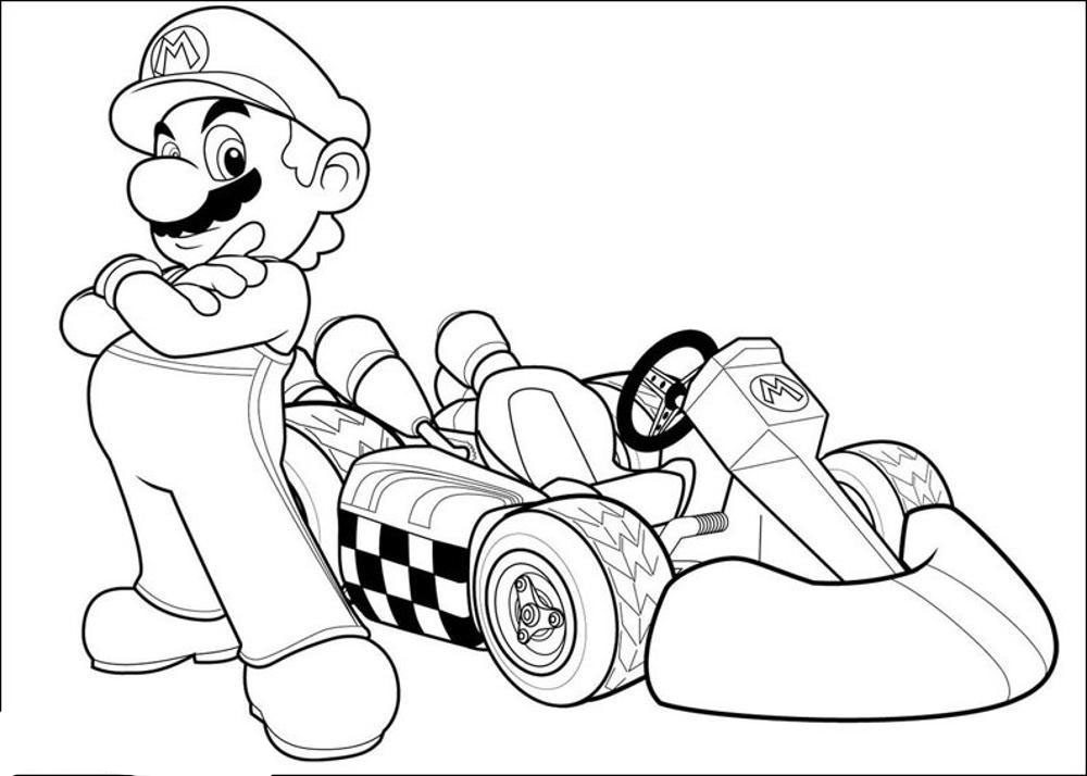 Mario kart coloring pages for Mario color page