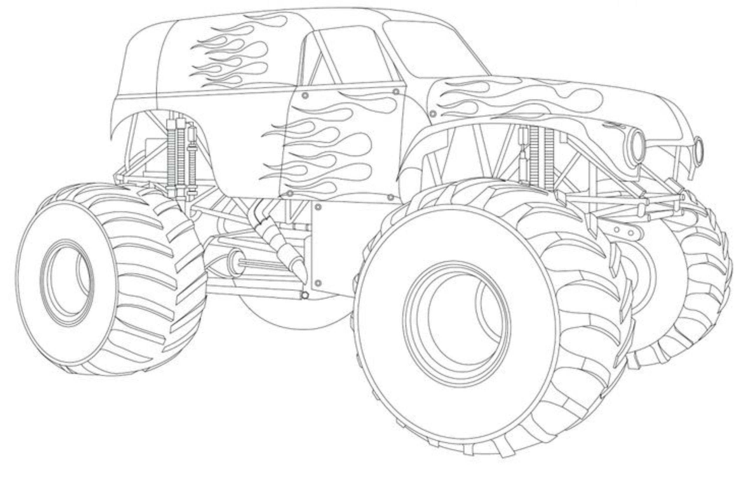Drawing monster truck coloring pages with kids for Free truck coloring pages