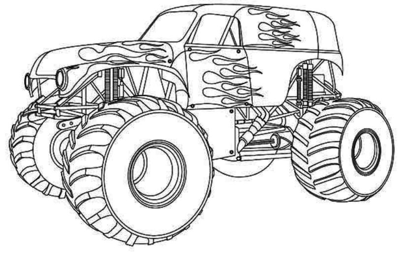 Drawing monster truck coloring pages with kids for Grave digger monster truck coloring pages