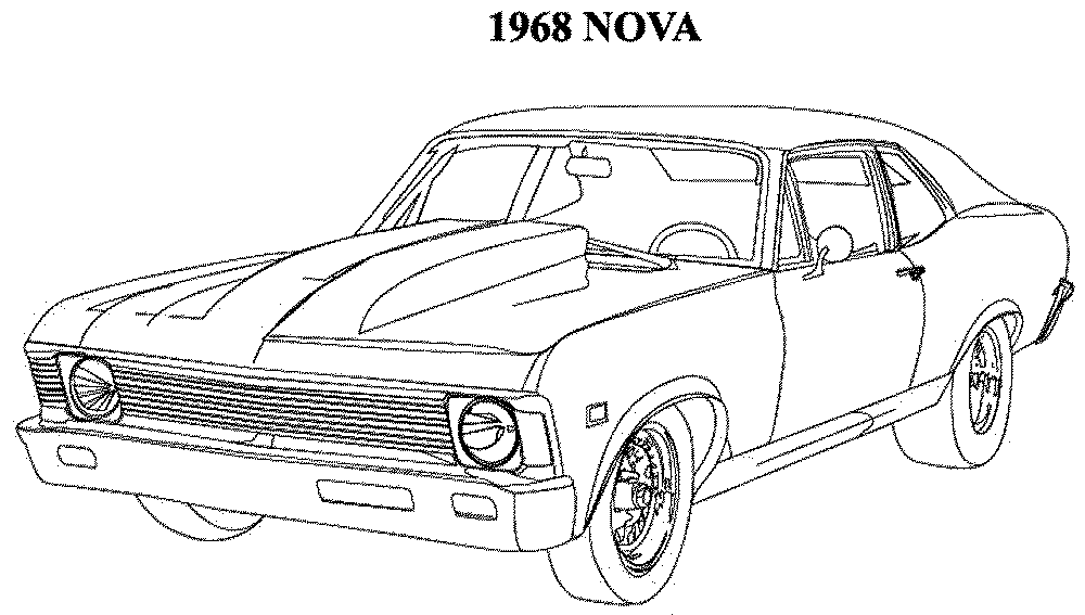 Muscle car drawing outline 10