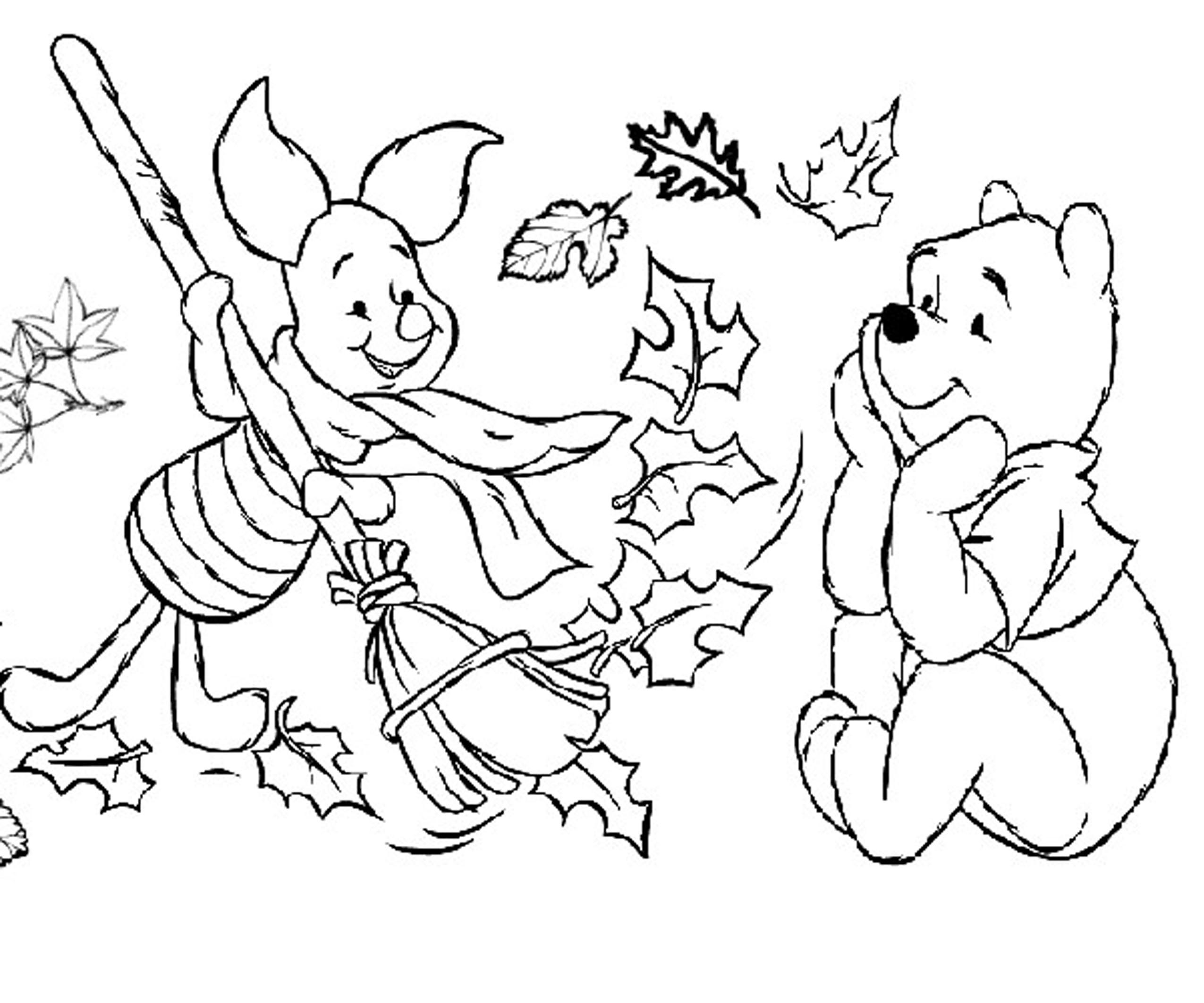pooh piglet disney fall coloring pages preschoolers - Coloring Pages Images