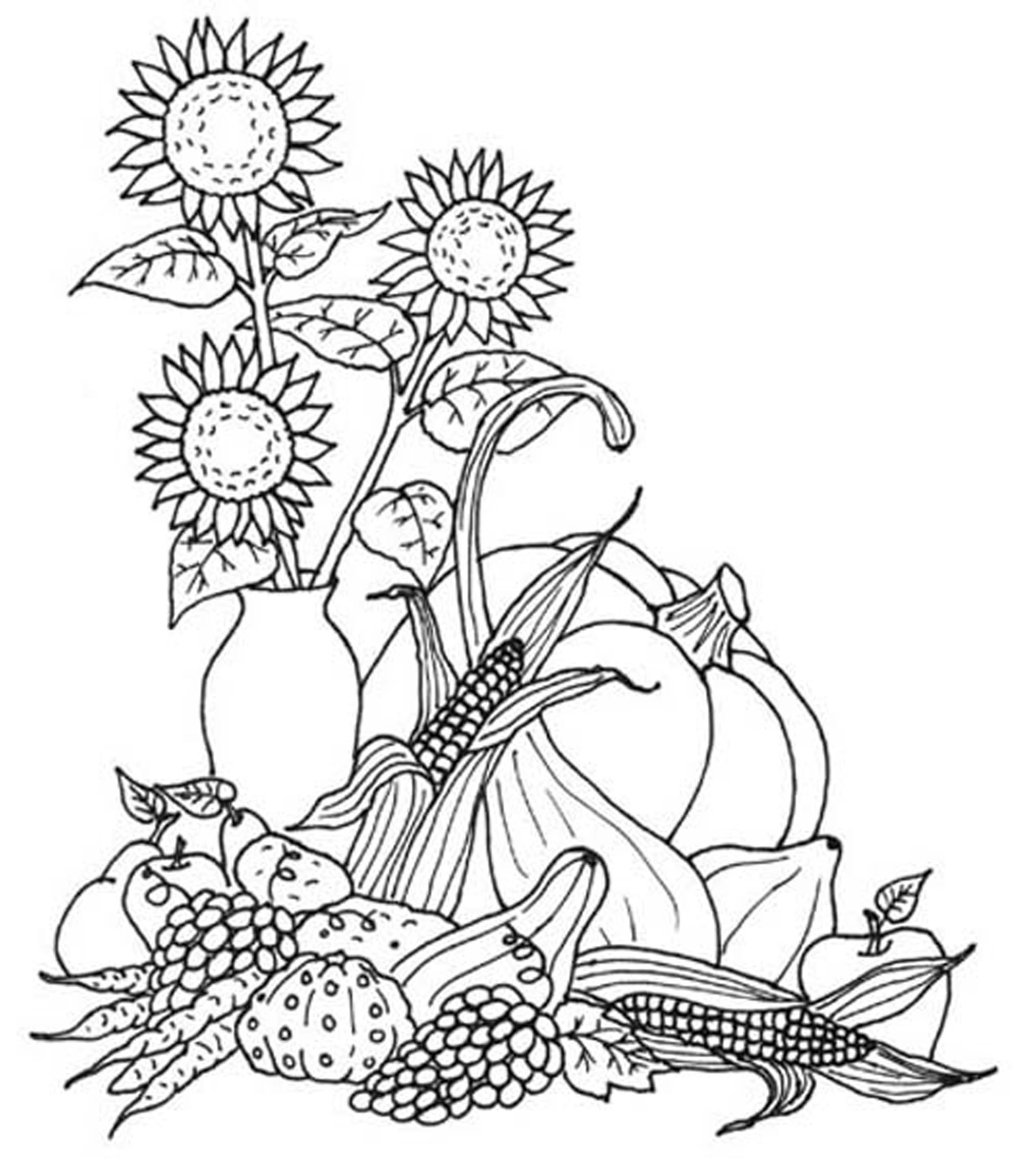 Thanksgiving Turkey with Harvest coloring page | Free Printable ... | 2851x2550