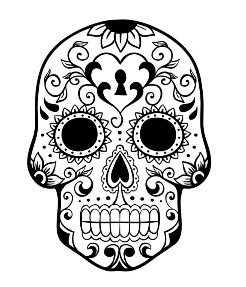 gallery of sugar skull coloring pages to have scary but beautiful pictures - Sugar Skull Coloring Page