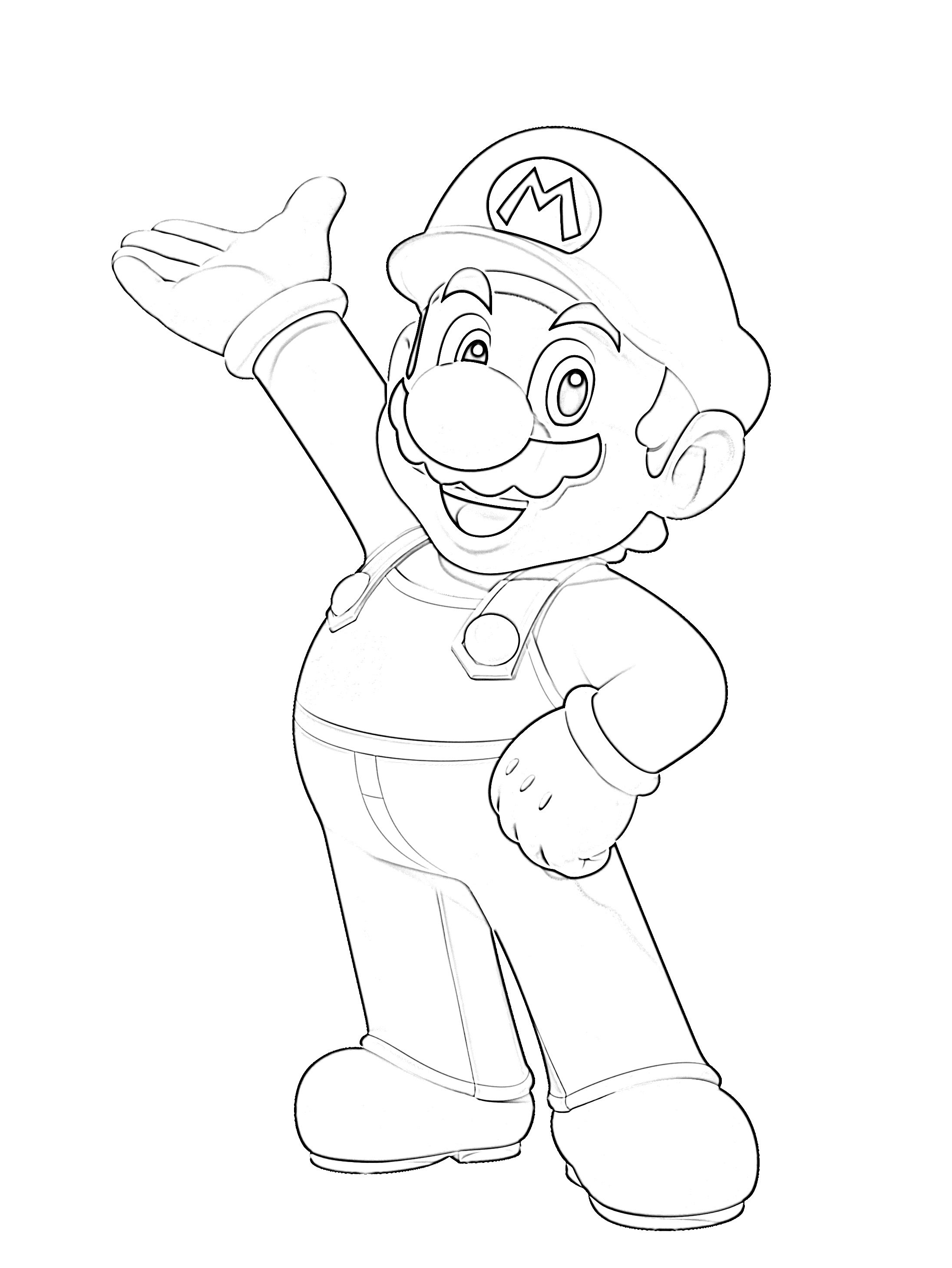 Super mario hand on hip coloring page