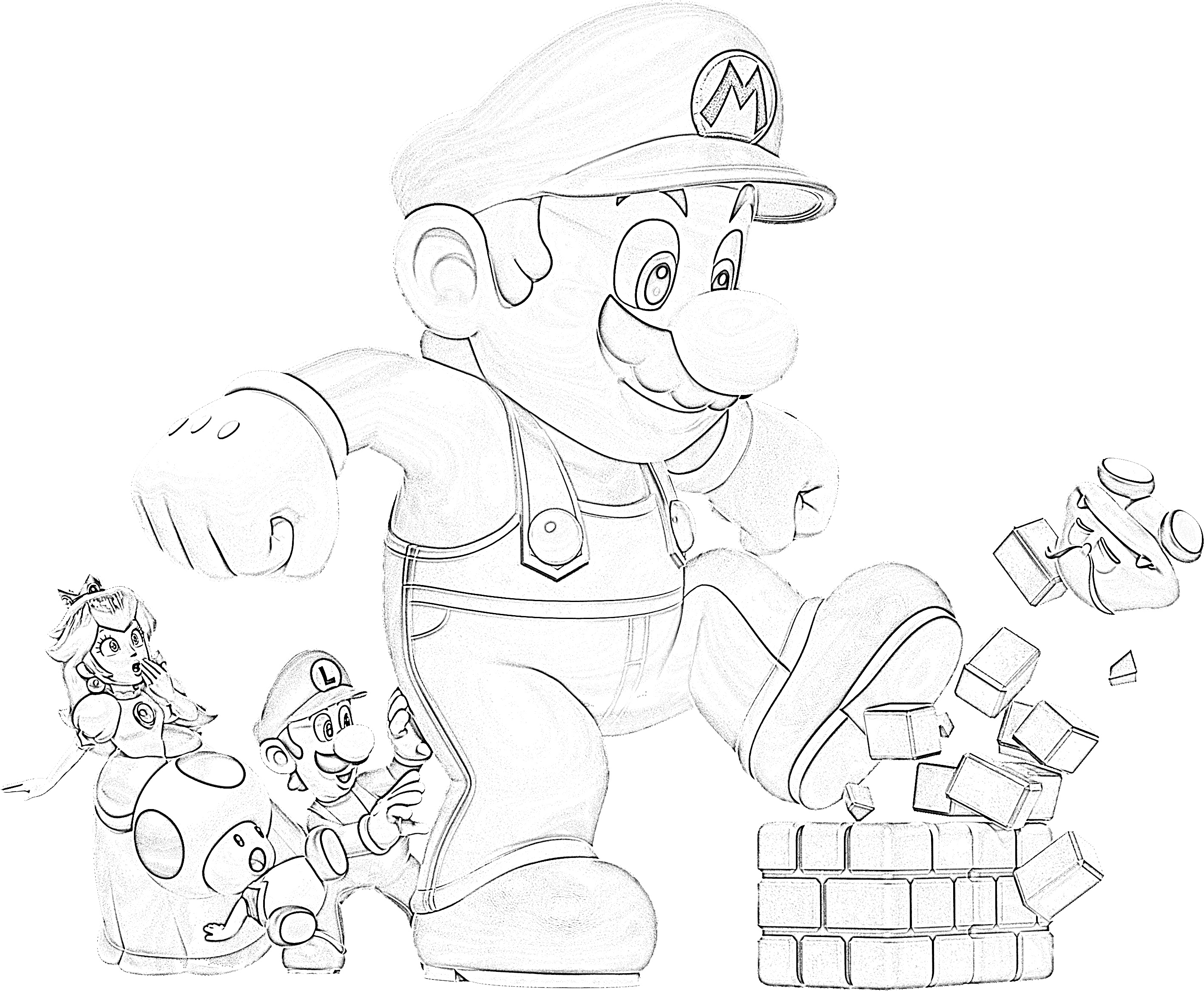 Super mario kicking bricks coloring page