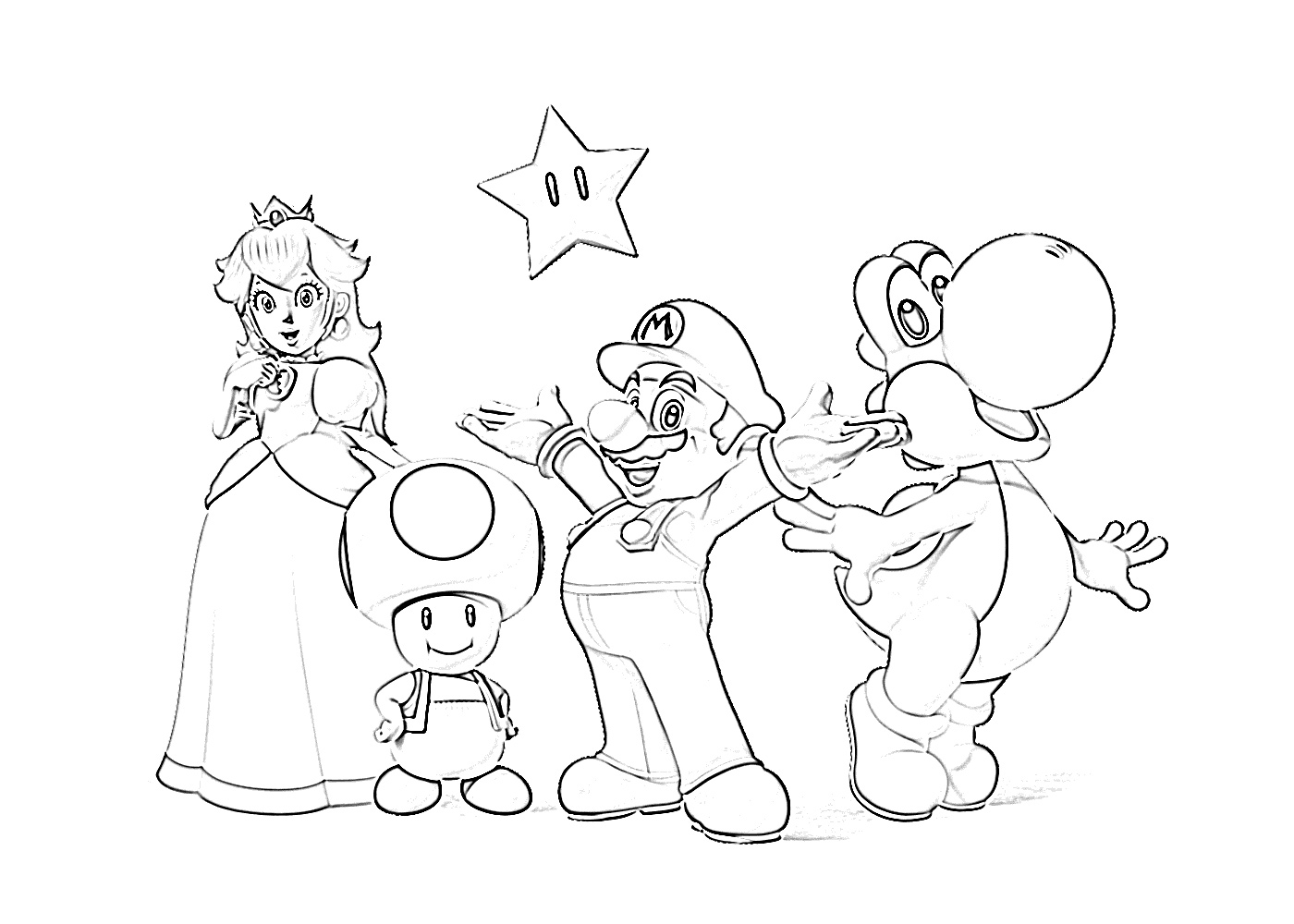 Super mario with peach, toad, yoshi coloring page