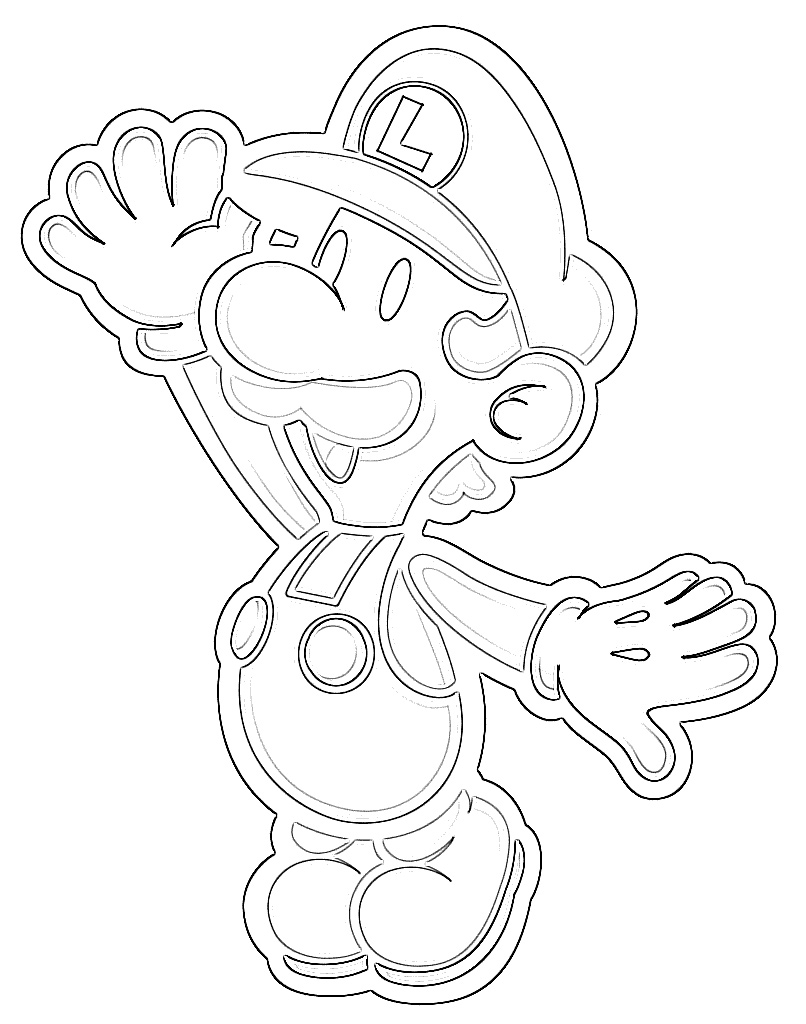 Super mario waving coloring page