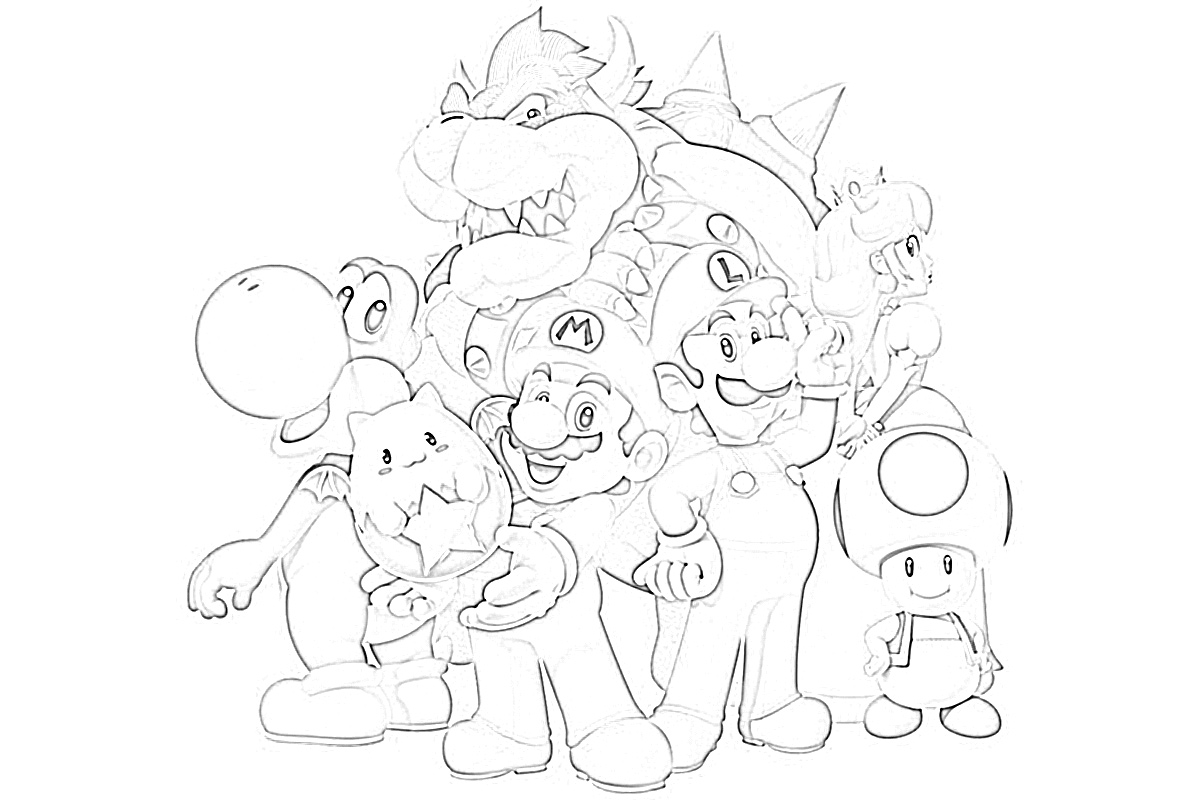 Super mario and the whole gang coloring page