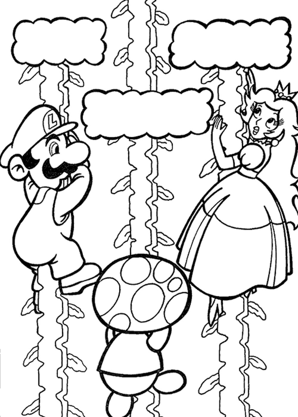Mario and luigi coloring pages printable - Super Mario Galaxy Coloring Pages