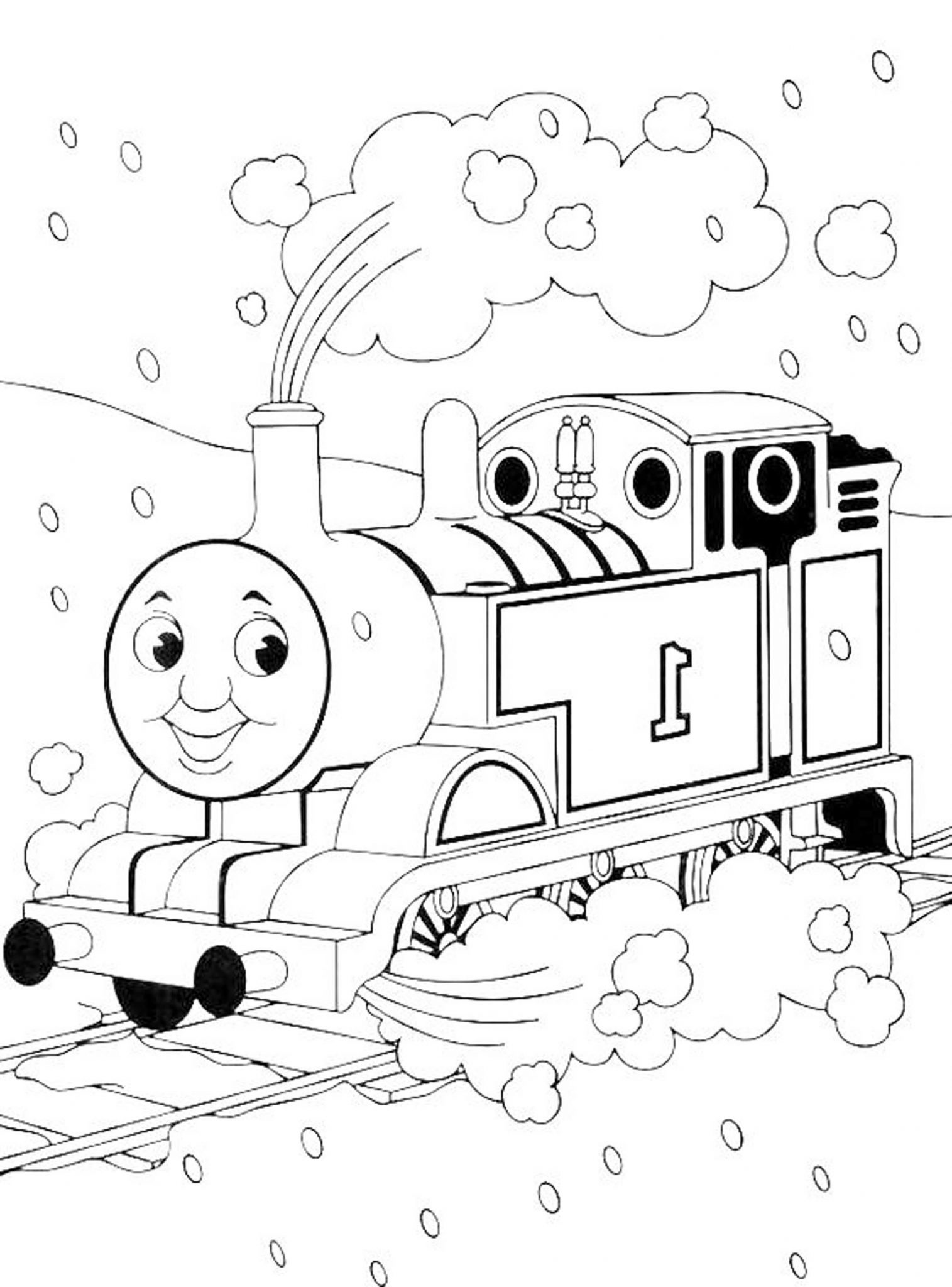 Print download thomas the train theme coloring pages for Thomas the train color page